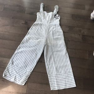 Linen & cotton, gray & ivory striped jumpsuit!